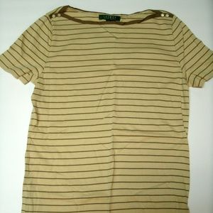 Lauren Ralph Lauren Shirt Tan Brown Striped Small